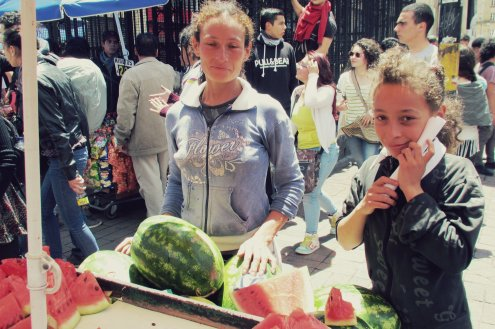 My favorite moment of the march: a womyn and her daughter giving away free watermelon. I really hope it wasn't imported!